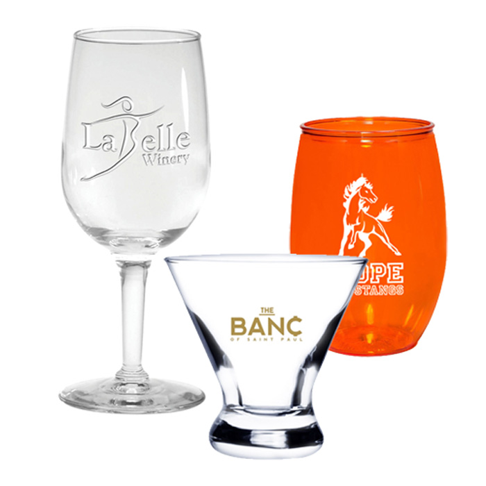 Custom Barware, Promotional Bar, Wine, Beer Glasses Personalized with Logo