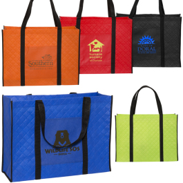 """Quilted Non-Woven Tote Bag - 18.125""""w x 13.5""""h x 6.25""""d  - Domestic Inventory"""