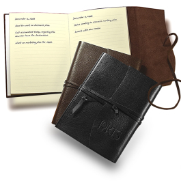 """Americana Leather-Wrapped Journal Notebook - 5.25""""w x 6.75""""h x 0.5""""d - Domestic Inventory"""