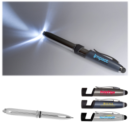 Multi Function Metal Stylus Pen Light and Phone Stand - Domestic Inventory