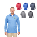 Ultraclub® Men's Cool & Dry Heathered Performance Quarter-Zip