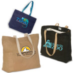 "Eco-Green Jute Tote Bag - 17.75""w x 13.75""h x 4""d with 24"" handles"