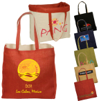 "Reversible Jute Cotton Shopping Tote Bag - 14-1/2""w x 14-3/4""h x 5-1/2""d"