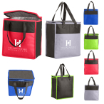 "Two-Tone Flat Top Insulated Non-Woven Grocery Tote - 10.75"" W x 11.5"" H x 6"" D"