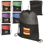 """Tonal Heathered Non-Woven Drawstring Backpack - 12.93"""" W x 16.56"""" H"""