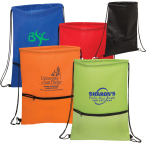 """Texture Pocket Non-Woven Drawstring Backpack - 14"""" W x 18.75"""" H"""