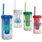 20 Oz. Plastic Mason Jar With Infuser Lid & Straw