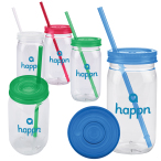 20 Oz. Plastic Mason Jar With Lid & Straw