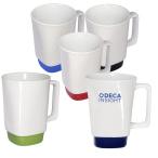 16 Oz. Stoneware Mug With Square Color Base