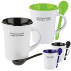 10 Oz. Two Tone Ceramic Mug With Matching Spoon