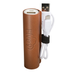 PU leather Tuscany™ Cylinder Power Bank - 2200mAh(UL Certified)