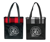"Buffalo Plaid Laminated Grocery Tote - 15"" H X 6"" W X 13"" D"