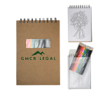 "Notebook With Colored Pencils - 5.5"" w x 8.25"" h x .5"" d"