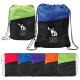"Two Tone Poly Drawstring Backpack w/ Zipper - 13"" W x 16.75"" H"