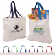 "Cotton Canvas Tote w/ Gusset & Color Accent Handles - 16"" W x 12.25"" H x 3.5"" D"